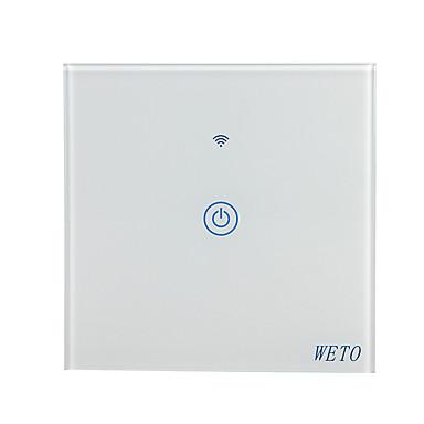 billige Smart Switch-weto w-t11 eu / us / cn 1 gangs wifi smart veggbryter touch sensor bryter smart hjemme fjernkontroll fungerer med alexa google hjemme via smarttelefon