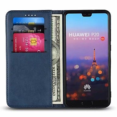 Case For Huawei P20 Pro / P20 lite Card Holder / with Stand Full Body Cases Solid Colored Hard Genuine Leather for Huawei P20 / Huawei P20 Pro / Huawei P20 lite