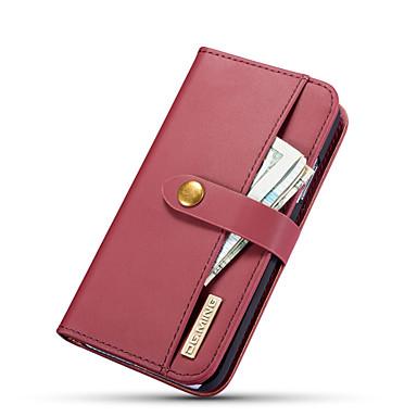 Недорогие Кейсы для iPhone-Кейс для Назначение Apple iPhone XS / iPhone X Кошелек / Бумажник для карт / со стендом Чехол Однотонный Твердый Настоящая кожа