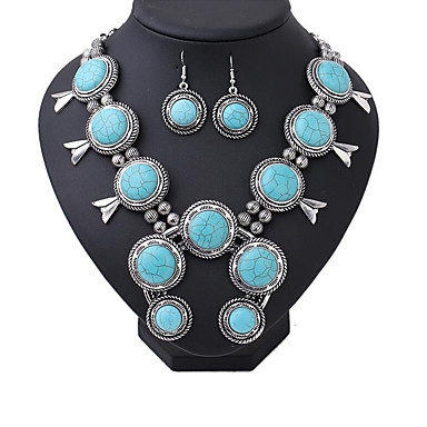 748706245 cheap Jewelry Sets-Women's Turquoise Beads Jewelry Set Silver Plated  Ladies