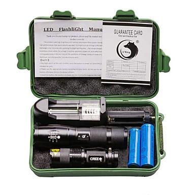 ieftine lanterne-U'King Lanterne LED 2000 lm LED Cree® XM-L T6 emițători 3 5 Mod Zbor cu Baterii și Încărcătoare Zoomable Focalizare Ajustabilă Camping / Cățărare / Speologie Utilizare Zilnică Exterior 2 buc Negru