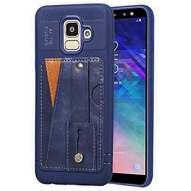 voordelige Galaxy J-serie hoesjes / covers-hoesje Voor Samsung Galaxy J6 (2018) / J5 (2017) / J4 (2018) Kaarthouder / met standaard / Mat Achterkant Effen Hard PU-nahka