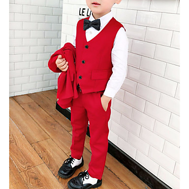 cheap Boys' Clothing-Kids Boys' Basic Solid Colored Long Sleeve Cotton Polyester Clothing Set Red