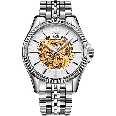 Недорогие Часы на металлическом ремешке-Angela Bos Муж. Часы со скелетом Наручные часы С автоподзаводом Нержавеющая сталь Серебристый металл 30 m Защита от влаги С гравировкой Повседневные часы Аналоговый На каждый день -  / Один год