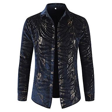billige Herrers Mode Beklædning-Klassisk krave Herre - Leopard Bomuld, Trykt mønster Luksus Fest / Natklub Skjorte Navyblå XL / Langærmet