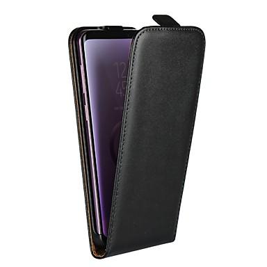 Недорогие Чехлы и кейсы для Galaxy S6-Кейс для Назначение SSamsung Galaxy S9 / S9 Plus / S8 Plus со стендом / Флип Чехол Однотонный Твердый Настоящая кожа