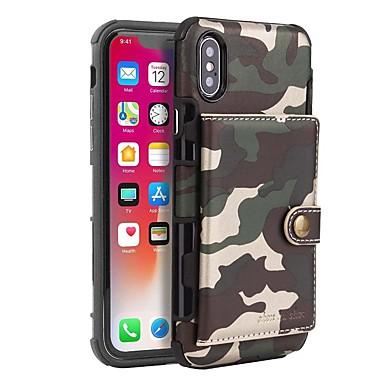 voordelige iPhone 6 hoesjes-hoesje Voor Apple iPhone XS / iPhone XS Max / iPhone X Kaarthouder / Schokbestendig / Stofbestendig Volledig hoesje Effen / Camouflage Kleur Hard PU-nahka / PC