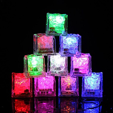 12 adet diy renkli flaş led buz küpleri düğün festivali dekor parti sahne işıltılı led parlayan indüksiyon buz cubeschristmas yeni yıl bar