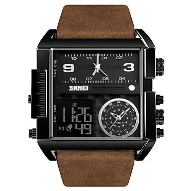 Χαμηλού Κόστους Ανδρικά ρολόγια-SKMEI Ανδρικά Αθλητικό Ρολόι Στρατιωτικό Ρολόι Ψηφιακό ρολόι Ψηφιακό Γνήσιο δέρμα Μαύρο / Καφέ 30 m Ανθεκτικό στο Νερό Συναγερμός Ημερολόγιο Αναλογικό-Ψηφιακό Πολυτέλεια Μοντέρνα -  / Ενας χρόνος