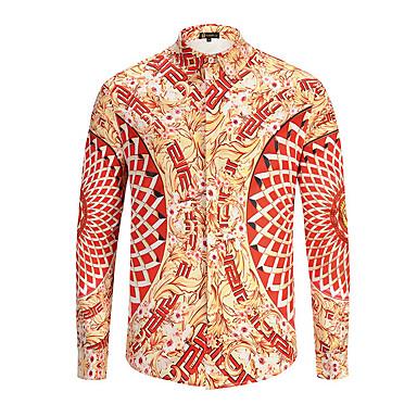 billige Herrers Mode Beklædning-Herre - Grafisk Gade Skjorte Orange L / Langærmet