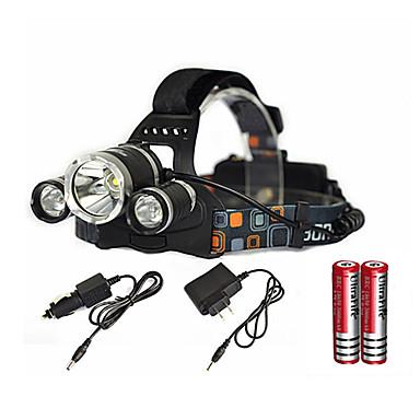 baratos Lanternas de Cabeça-Lanternas de Cabeça LED Cree® XM-L T6 Emissores 6000 lm 1 Modo Iluminação Com Pilhas e Carregador Zoomable Impermeável Recarregável Campismo / Escursão / Espeleologismo Uso Diário Mergulho / Náutica