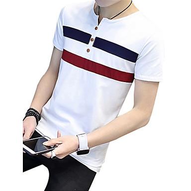 billige Herrers Mode Beklædning-Rund hals Herre - Stribet Bomuld Plusstørrelser T-shirt Hvid XL / Kortærmet