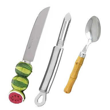 3pcs Kitchen Utensils Tools Stainless Steel + Plastic Stainless steel Cute Ergonomic Design Home Kitchen Tool
