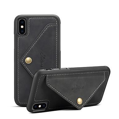 Недорогие Кейсы для iPhone-Кейс для Назначение Apple iPhone XS / iPhone XR / iPhone XS Max Кошелек / Бумажник для карт / Защита от удара Кейс на заднюю панель Однотонный Твердый Кожа PU