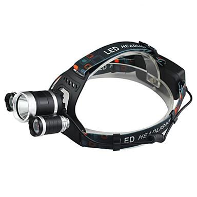 baratos Lanternas de Cabeça-Lanternas de Cabeça LED Cree® XM-L T6 3 Emissores 2400 lm 4.0 Modo Iluminação Com Carregador Impermeável Resistente ao Impacto Recarregável Campismo / Escursão / Espeleologismo Uso Diário Ciclismo