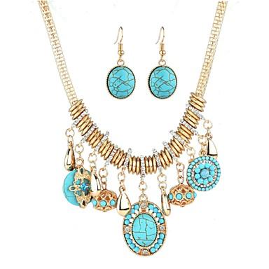 ราคาถูก Turquoise Jewelry Sets-สำหรับผู้หญิง Turquoise Drop Earrings คลาสสิค อติพจน์ ชาติพันธุ์ แฟชั่น สไตล์ตะวันตก Elizabeth Locke พลอยเทียม ต่างหู เครื่องประดับ สีทอง สำหรับ ปาร์ตี้ เทศกาล 1set