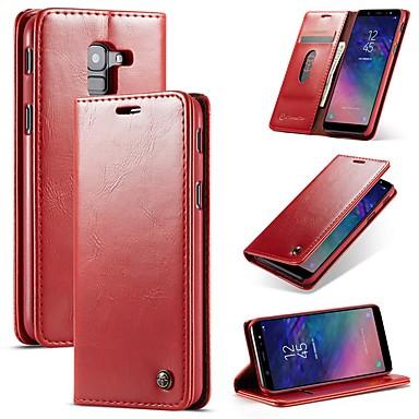Недорогие Чехлы и кейсы для Galaxy A5-Кейс для Назначение SSamsung Galaxy A6 (2018) / Galaxy A7(2018) / A8 2018 Кошелек / Бумажник для карт / Защита от удара Чехол Однотонный Твердый Кожа PU