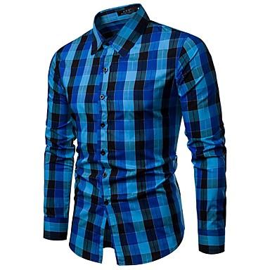 economico Abbigliamento uomo-Camicia Per uomo Lavoro / Essenziale Con stampe, Pied-de-poule / A quadri Colletto classico Blu L / Manica lunga