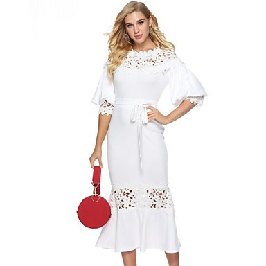 cheap Lace Dresses-Women's Party Work Boho Street chic Puff Sleeve Maxi Shift Sheath Trumpet / Mermaid Dress - Solid Colored Mesh Spring White L XL XXL / Sexy
