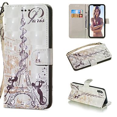 voordelige iPhone 5 hoesjes-hoesje Voor Apple iPhone XS / iPhone XR / iPhone XS Max Portemonnee / Kaarthouder / met standaard Volledig hoesje Eiffeltoren Hard PU-nahka