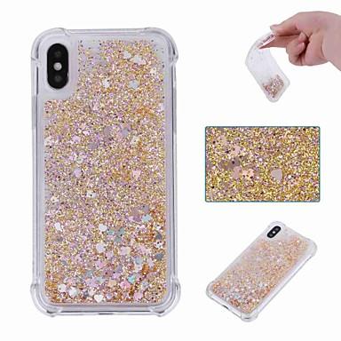 voordelige iPhone 5 hoesjes-hoesje Voor Apple iPhone XS / iPhone XR / iPhone XS Max Schokbestendig / Stromende vloeistof / Transparant Achterkant Glitterglans Zacht TPU