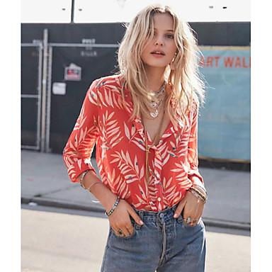cheap Blouses-Women's Street chic Shirt - Geometric Print V Neck Red S
