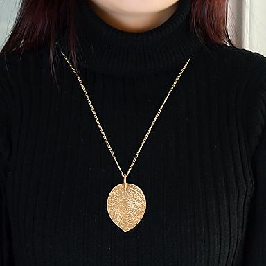 billige Mote Halskjede-Dame Lang Halskjede geometriske Blad Formet Enkel Mote Chrome Gull 67 cm Halskjeder Smykker 1pc Til Daglig