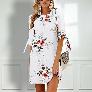 billige Minikjoler-Dame Chiffon Kjole - Blomstret, Trykt mønster Mini / Ferie