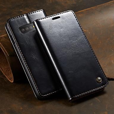 Недорогие Чехлы и кейсы для Galaxy S-Кейс для Назначение SSamsung Galaxy Galaxy S10 Кошелек / Бумажник для карт / со стендом Чехол Однотонный Твердый Кожа PU