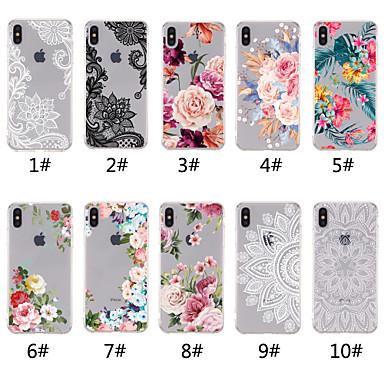 abordables Coques pour iPhone 5-Coque Pour Apple iPhone XR / iPhone XS Max Transparente / Motif Coque Impression de dentelle / Fleur Flexible TPU pour iPhone XS / iPhone XR / iPhone XS Max