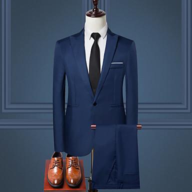 billiga Herr Modekläder-Herr Arbete Normal kostymer, Enfärgad Tröjkrage Långärmad Polyester Vin / Ljusblå / Khaki grön XXXL / XXXXL / XXXXXL