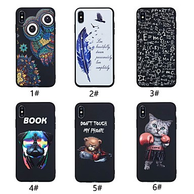 abordables Coques pour iPhone 5-Coque Pour Apple iPhone XR / iPhone XS Max Ultrafine / Motif Coque Chat / Animal / Plumes Flexible TPU pour iPhone XS / iPhone XR / iPhone XS Max