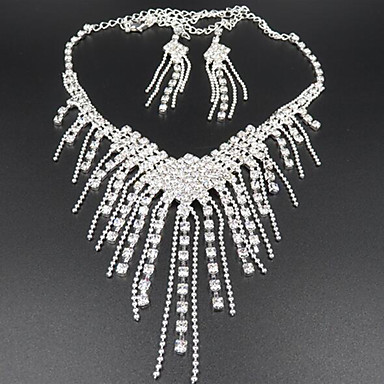 cheap Jewelry Sets-Tassel Long Jewelry Set Cubic Zirconia, Imitation Diamond Ladies, Tassel, Party Include White For / Earrings / Necklace