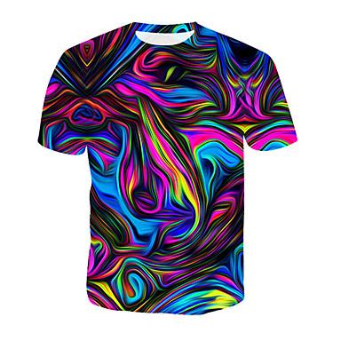 levne Pánské módní oblečení-Pánské - Geometrický / 3D / Duhová Tričko, Tisk Bavlna Kulatý Duhová XXXL / Léto