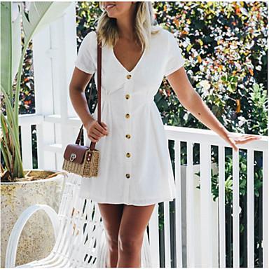 cheap White and Black Dresses-Women's Beach Elegant Mini A Line Sundress - Solid Colored V Neck Pink Navy Blue Light Green L XL XXL / Cotton