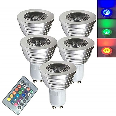 abordables Bombillas LED-5pcs 3 W Focos LED Bombillas LED Inteligentes 250 lm E14 GU10 GU5.3 1 Cuentas LED SMD 5050 Smart Regulable Control Remoto RGBW 85-265 V / Cañas