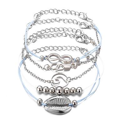 0816840107df 5pcs Mujer Multi capa telar pulsera Brazalete colgante Conjunto de pulsera  Corazón Ola Concha De moda