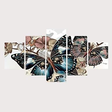 Imprimeu Imprimate în rulouri de pânză Imprimeuri pânză întinse - Temă Fluture Romantic Contemporan Modern Cinci Panouri Tablouri de artă
