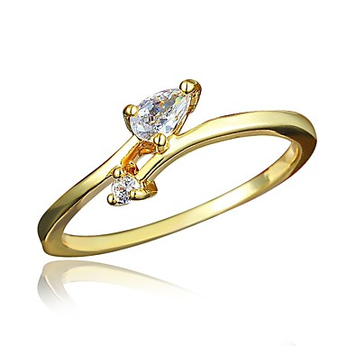 Women's Clear Cubic Zirconia Classic Ring 18K Gold Plated Imitation Diamond Stylish Luxury Romantic Fashion Elegant Ring Jewelry Gold For Party Engagement Gift Daily Date 6 / 7 / 8 / 9