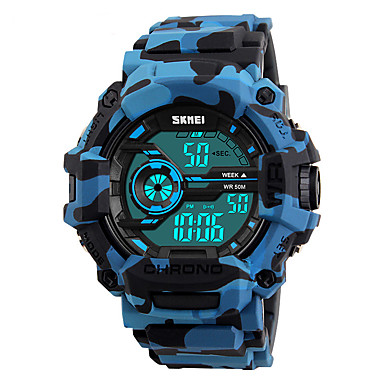 levne Pánské-SKMEI Pánské Digitální hodinky Digitální Silikon Modrá / Orange / Zelená 50 m Voděodolné Kalendář Stopky Digitální Módní Barevná - Oranžová Zelená Modrá