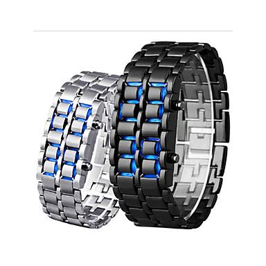 billige Herreure-Herre Digital Watch Digital Rustfrit stål Sort / Sølv 30 m Vandafvisende Kreativ Nyt Design Digital Udendørs Mode - Sølv Rød Blå