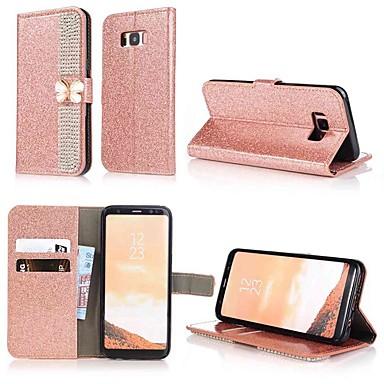 Недорогие Чехлы и кейсы для Galaxy S6-Кейс для Назначение SSamsung Galaxy S9 / S9 Plus / S8 Plus Кошелек / Бумажник для карт / Стразы Чехол Однотонный / Сияние и блеск / Стразы Твердый Кожа PU