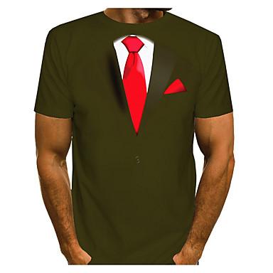 economico Abbigliamento uomo-T-shirt Per uomo 3D Rotonda Verde XXXL