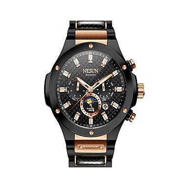 Недорогие Часы на металлическом ремешке-nesun Муж. Нарядные часы С автоподзаводом Нержавеющая сталь Черный / Серебристый металл 30 m Защита от влаги Календарь Фосфоресцирующий Аналоговый На каждый день Мода -