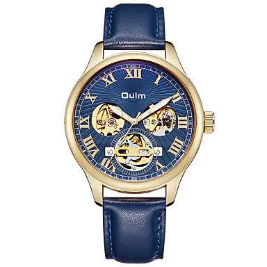 cheap Men's Watches-Oulm Men's Mechanical Watch Japanese Automatic self-winding Genuine Leather Blue / Brown 30 m Water Resistant / Waterproof Hollow Engraving Analog Vintage - Coffee Blue One Year Battery Life
