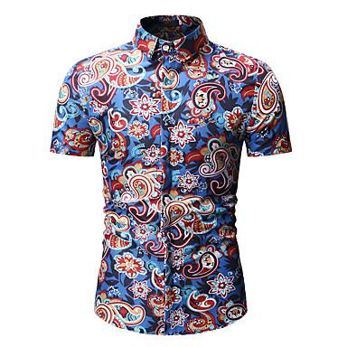 billige Herrers Mode Beklædning-Herre - Blomstret / Galakse / Farveblok Bomuld, Trykt mønster Skjorte Blå XL
