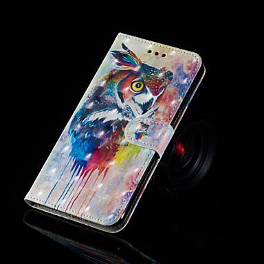voordelige Huawei Y-serie hoesjes / covers-hoesje Voor Huawei Huawei Nova 3i / Huawei Honor 9 Lite / Huawei Honor 8X Portemonnee / Kaarthouder / met standaard Volledig hoesje Uil Hard PU-nahka