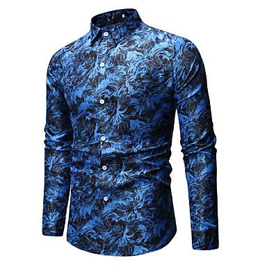 economico Abbigliamento uomo-Camicia Per uomo Fantasia geometrica Cotone Blu XL