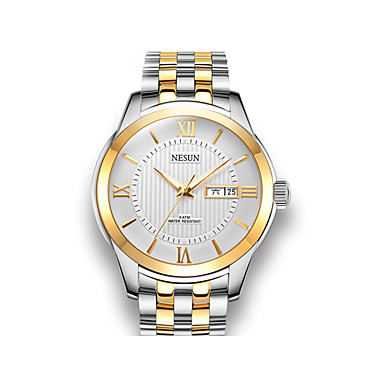 levne Pánské-nesun Pánské mechanické hodinky Automatické natahování Nerez Stříbro / Růžové zlato 30 m Voděodolné Kalendář Hodinky na běžné nošení Analogové Na běžné nošení Módní - Černobílá Zlatá / bílá zlat