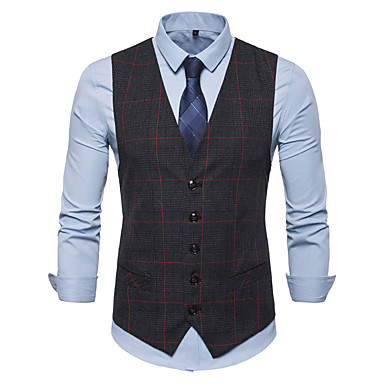 economico Abbigliamento uomo-Per uomo Gilè, A quadri Colletto Cotone / Poliestere Marrone / Grigio scuro / Grigio chiaro XL / XXL / XXXL